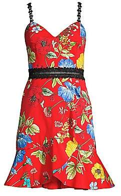 Alice + Olivia Women's Kirby Lace-Trimmed Floral Fit-And-Flare Dress