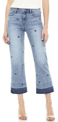 Sam Edelman The Chelsea Embroidered Release Hem Wide Leg Jeans