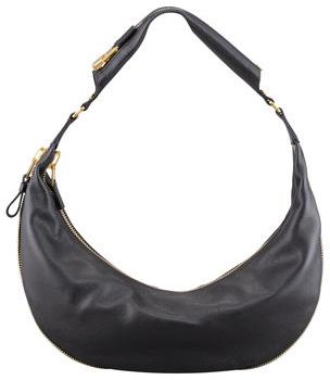Tom Ford Medium Slim Leather Hobo Bag, Black