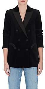 BLAZÉ MILANO Women's Essentials Velvet Double-Breasted Blazer-Black