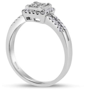 10k White Gold 0.20 Ct. Natural Diamond Square Halo Promise Ring Size 7