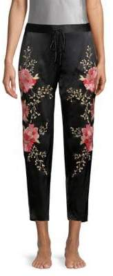 Josie Silk Embroidery Ankle Trousers