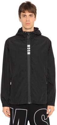 MSGM Logo Zip Nylon & Cotton Anorak Jacket