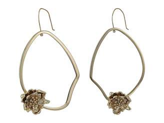 French Connection Asymmetrical Floral Hoop Earrings