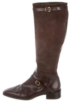 Ralph Lauren Suede & Leather Knee-High Boots Brown Suede & Leather Knee-High Boots