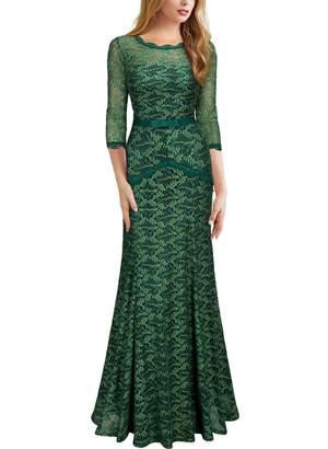Miusol? Women's Floral Lace 2/3 Sleeves Long Bridesmaid Maxi Dress