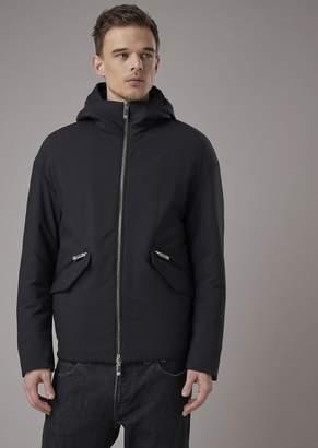 Giorgio Armani Pea Coat With Hood In Stretch Wool Fabric