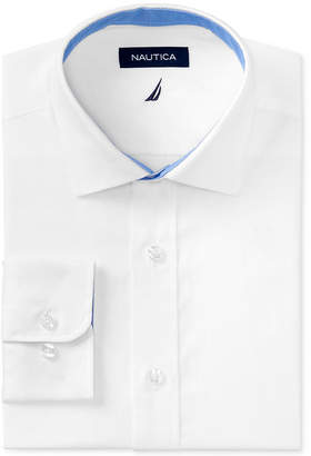Nautica Men Classic/Regular Fit Comfort Stretch Wrinkle Free Solid Poplin Dress Shirt