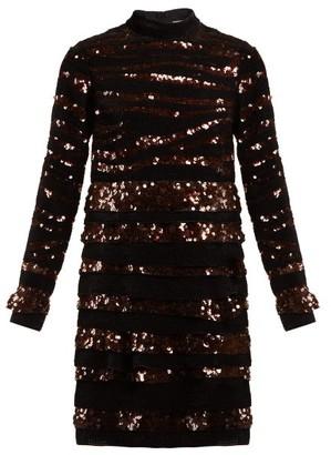 Bottega Veneta Sequin Striped Mini Dress - Womens - Black Multi