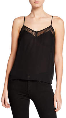 Equipment Layla Silk Cami with Lace Trim