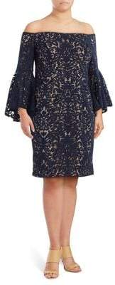 Xscape Evenings Plus Lace Bell-Sleeve Dress