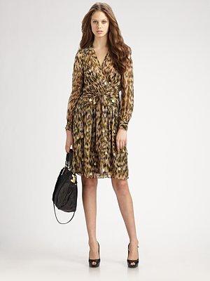 Brushtroke-Print Katy Wrap-Dress