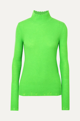 Les Rêveries - Distressed Ribbed Cashmere Turtleneck Sweater - Green