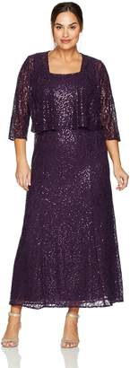 Alex Evenings Women's Plus-Size Plus-Size Fit and Flare Dress with Cascade Detail Jacket