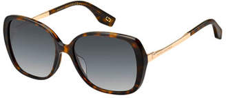 Marc Jacobs Round Acetate & Metal Polarized Sunglasses, Brown Pattern