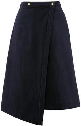 Acne Studios Asymmetric Cotton-blend Corduroy Wrap Skirt - Navy