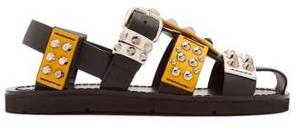 Prada Stud Embellished Leather Sandals - Womens - Black Yellow