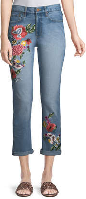 Alice + Olivia JEANS Amazing Floral-Embroidered High-Rise Straight-Leg Jeans