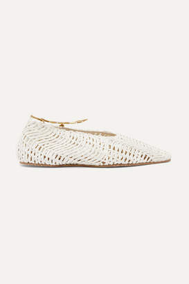 Stella McCartney Embellished Woven Cotton Point-toe Flats - White