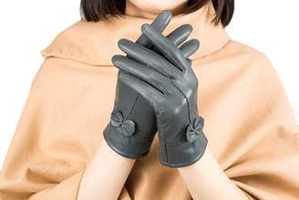 Ealafee Wrist Length Grey Glove for Driving Winter Real Leather Gloves for Adult