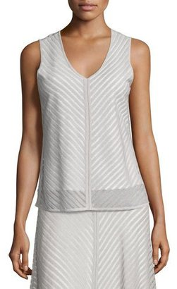 NIC+ZOE Sheer Striped Tank $148 thestylecure.com