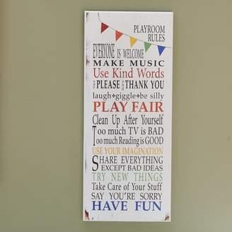 Viv + Rae Seth Rainbow Playroom Rules Wall Plaque