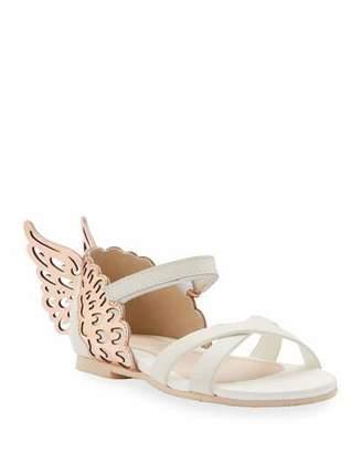 Sophia Webster Evangeline Metallic Butterfly-Wing Leather Sandals, Toddler