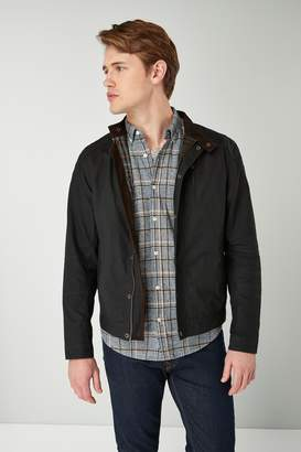 Next Mens Black Signature British Millerain Wax Biker Jacket - Black