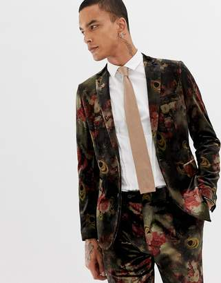 Devils Advocate Slim Fit Floral Velvet Suit Jacket