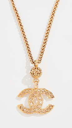 Chanel What Goes Around Comes Around Gold Fretwork CC Necklace