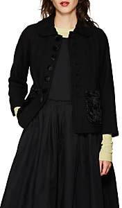 Comme des Garcons Women's Peter Pan-Collar Wool Jacket-Black