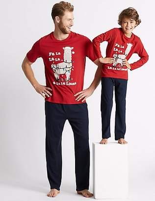 Marks and Spencer Pure Cotton Llama Print Pyjamas (3-16 Years)