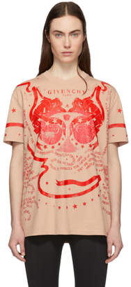 Givenchy Beige and Red Gemini T-Shirt