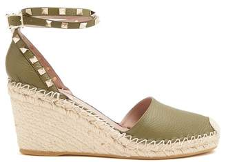 Valentino Rockstud Leather Wedge Espadrilles - Womens - Khaki