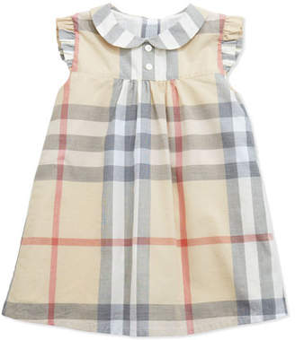 Burberry Davina Ruffle-Shoulder Check Dress, Paltrench, 3-24 Months