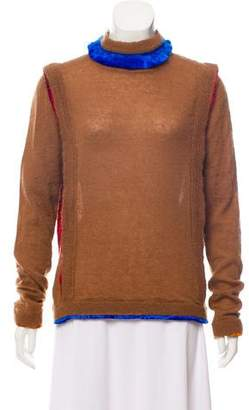 Marco De Vincenzo Velvet-Trimmed Mohair-Blend Sweater