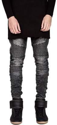 Cocosasa Trendy Designed Straight Pants Casual Men Jeans Slim Elastic Denim Trousers