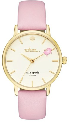 Women's Kate Spade New York Metro Round Leather Strap Watch, 34Mm $195 thestylecure.com