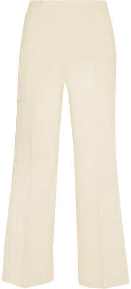 Fendi - Cropped Wool And Silk-blend Gazar Wide-leg Pants - Off-white