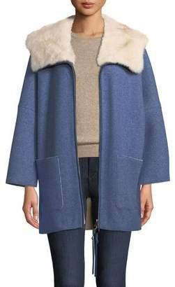 Agnona Mink Fur-Lined Hooded Cashmere Coat