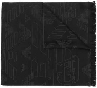 Emporio Armani embroidered eagle scarf