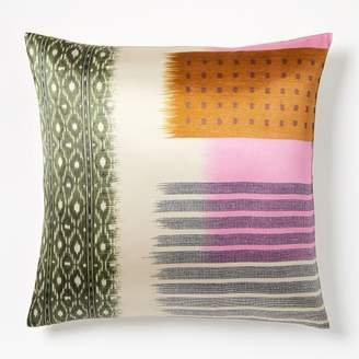 west elm Blocked Ikat Silk Pillow Cover - Pink Sorbet