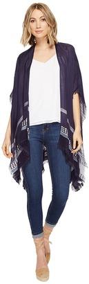 Echo Design - Slub Stripe Ruana Poncho Women's Clothing $49 thestylecure.com