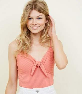 New Look Petite Coral Ribbed Tie Front Cami