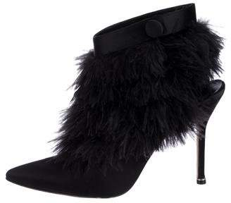 Manolo Blahnik 2018 Oterala Feather-Trimmed Booties