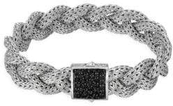 John Hardy Classic Chain Black Sapphire& Sterling Silver Medium Braided Bracelet