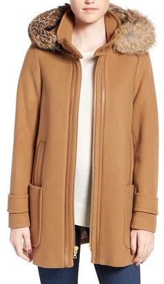 Trina Turk 'Allyson' Genuine Coyote Fur Trim Wool Blend Duffle Coat $525 thestylecure.com