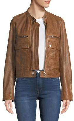 Zadig & Voltaire Love Zip-Front Leather Aviator Jacket