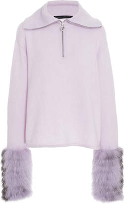 Sally LaPointe Fur-Trimmed Silk-Cashmere Sweater Size: XS/S
