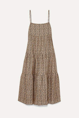 BEIGE Matteau - Floral-print Tiered Cotton-poplin Maxi Dress